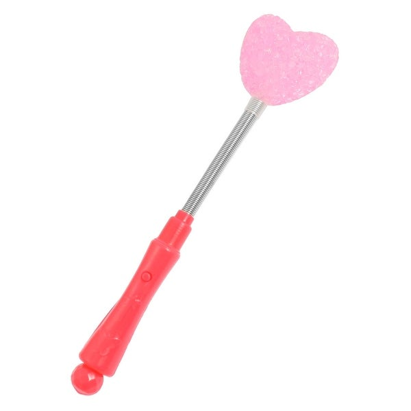 Unique Bargains Hot Pink Plastic Handle 3 Modes White Light LED Heart Shiny Stick