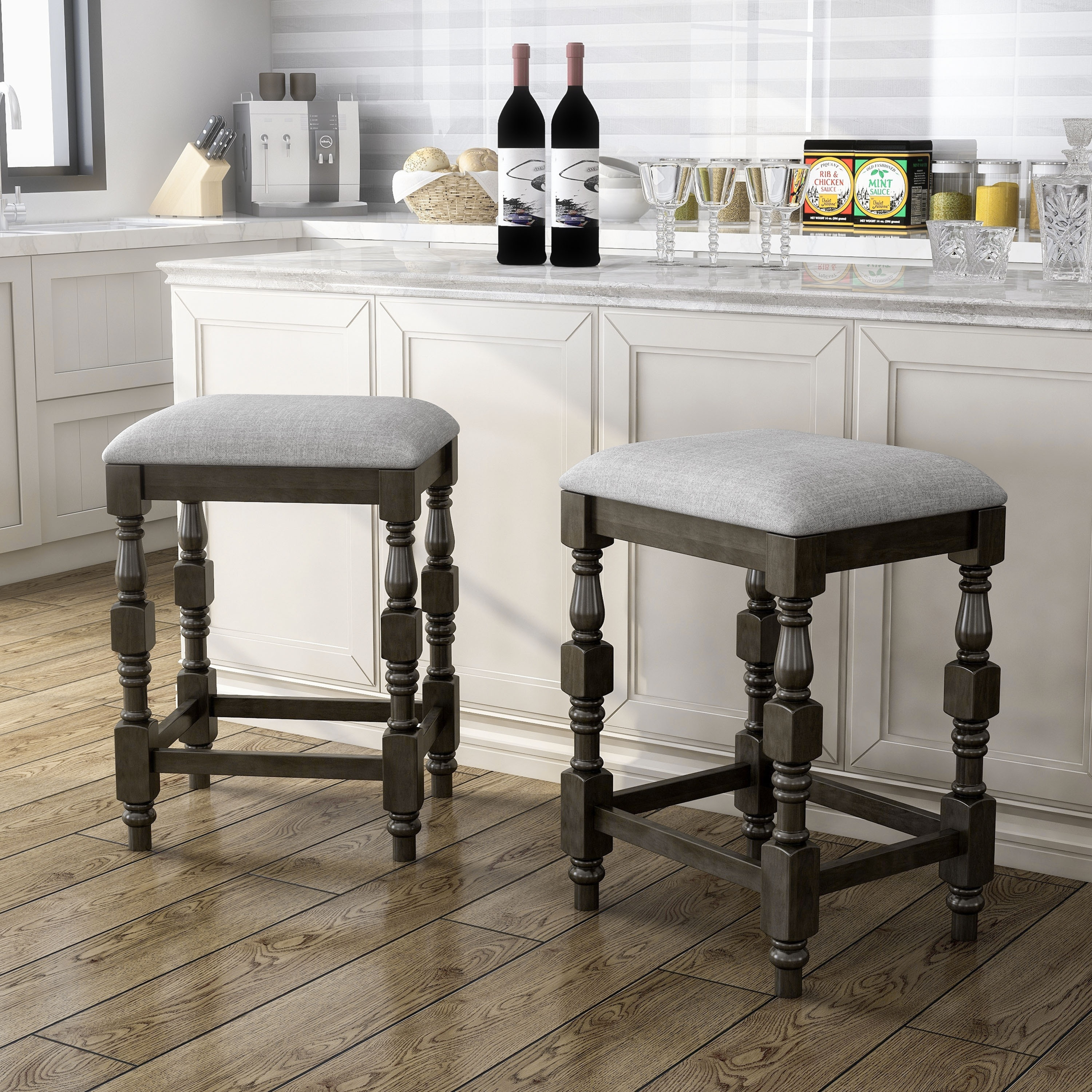 Picture of: Furniture Of America Adagio Farmhouse Counter Height Stool Set Of 2 On Sale Overstock 31273386