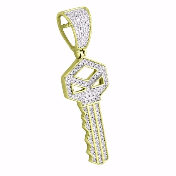 "10k Yellow Gold House Key Pendant 1.5"" Charm 0.35 Ct Diamonds Mens Rick Ross"