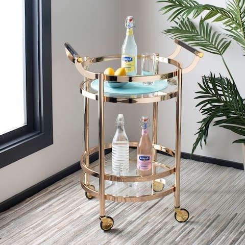 """Safavieh Sienna 2 Tier Round Bar Cart-Gold / Glass - 23.8"""" x 19.9"""" x 34"""""""