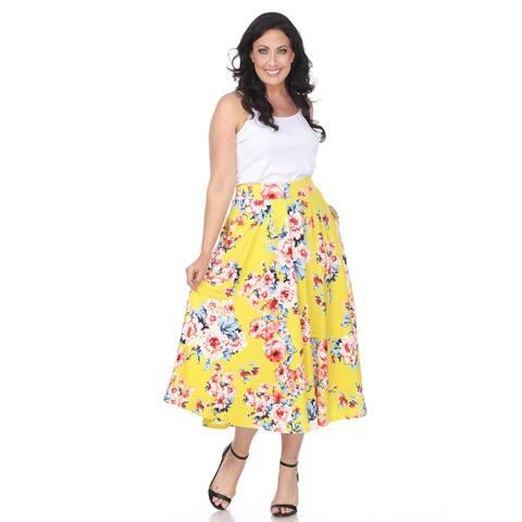 Plus Size Floral Tasmin Flare Midi Skirts - Yellow