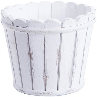 """Whitewashed Picket Fence Container-6.38"""""""