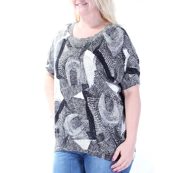 6ab5d925822 Shop DKNY Womens Black Printed Short Sleeve Scoop Neck Tunic Top Size: L -  On Sale - Free Shipping On Orders Over $45 - Overstock - 21313426