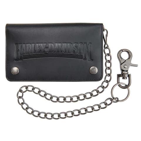 """Harley-Davidson Men's Shot Caller Embossed Biker Leather Wallet HDMWA11048-BLK - Size: 6.5"""" L x 3.5"""" H"""