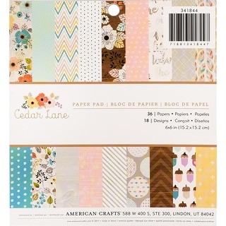 "American Crafts Single-Sided Paper Pad 6""X6"" 36/Pkg-Cedar Lane"