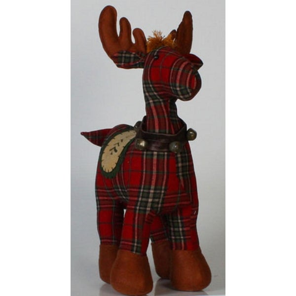 "25.5"" Rustic Lodge Standing Plaid Moose with Bells Christmas Table Top Decor"