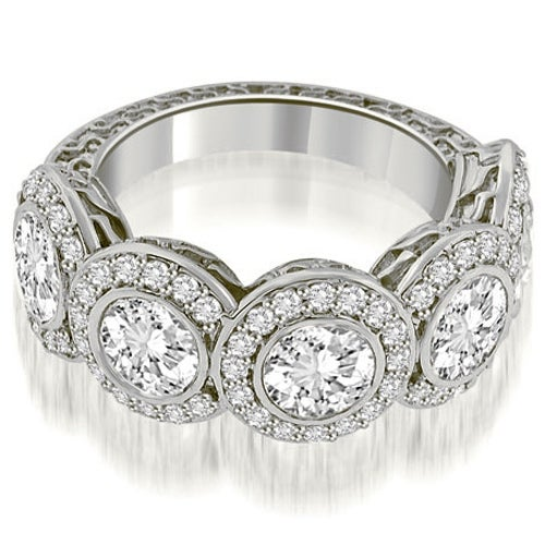 3.18 cttw. 14K White Gold Antique Halo Cluster Diamond Ring