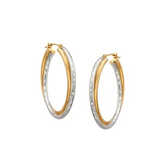 Double-Oval Hoop Earrings in 10K Gold-Bonded Sterling Silver - Two-tone