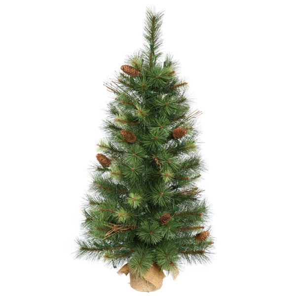 3' Caribou Mixed Pine Artificial Christmas Tree with Burlap Base - Unlit