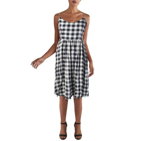 BB Dakota Womens Casual Dress Check Print V-Neck - Matie Navy