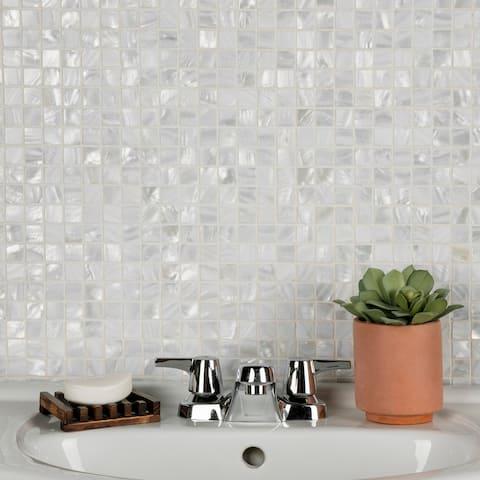 "SomerTile Conchella Square White 12"" x 12"" Natural Seashell Mosaic Tile"