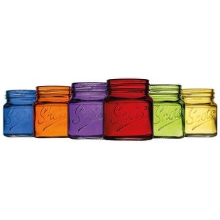 Palais Glassware Palais 'Shots' Mason Jar Shot Glasses - Mini Shot Glass Cups - Holds 2.4 Oz - Set of 6 Colored.