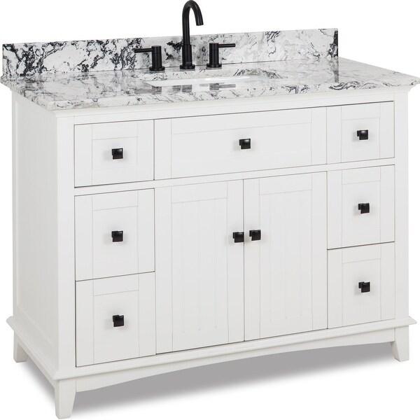"Jeffrey Alexander VN-SAV-48-WB Savino 48"" Free Standing Single Basin Vanity Set with Wood Cabinet and Engineered Marble Vanity"