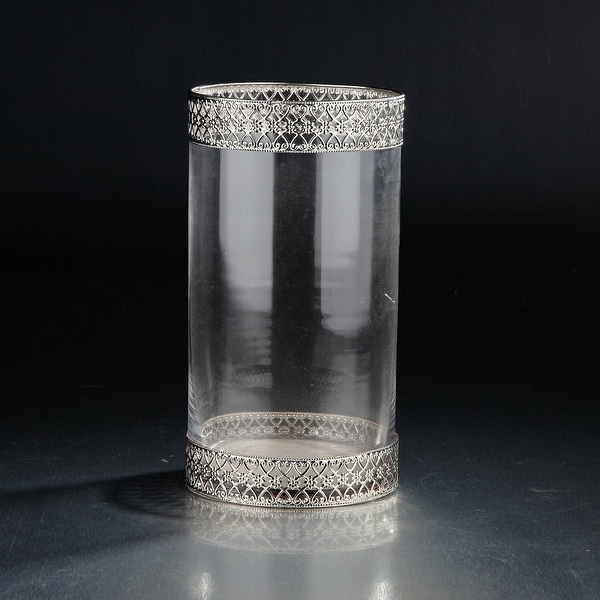 "11"" Clear and Silver Colored Decorative Cylindrical Glass Vase - N/A"
