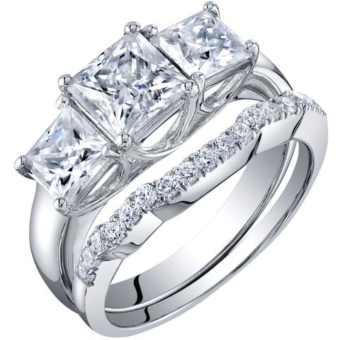 2.75 Carat Moissanite Princess Cut Engagement Ring Wedding Band Bridal Set in Sterling Silver