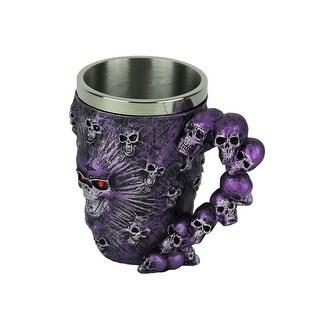 Metallic Purple Ghostly Skulls Mug with Stainless Steel Liner