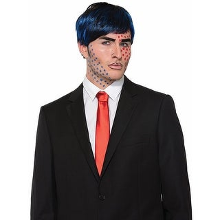 Bobby Boom Pop Art Costume Wig Black/Blue Adult Men