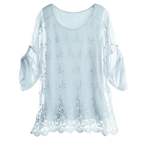 Women's Tunic Top - Embroidered Scallop Hem Light Blue 3/4 Sleeve Shirt