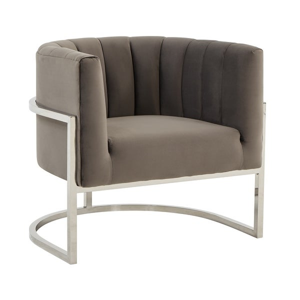 Modrest Landau Modern Grey Velvet & Stainless Steel Accent Chair. Opens flyout.