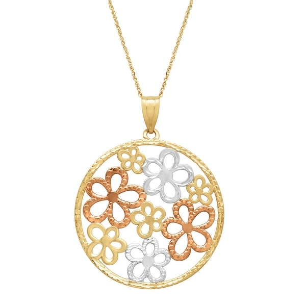 Just Gold Openwork Floral Disc Pendant in 14K Yellow, Rose & White Gold - three-tone