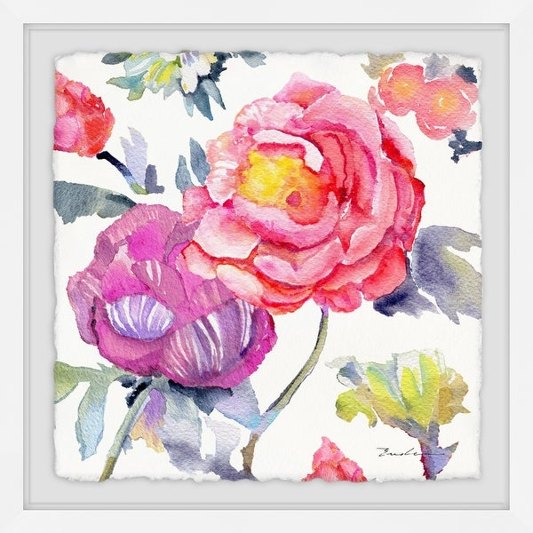 """Marmont Hill MH-MWW-EVELIA-04-WFPFL-18 18"""" x 18"""" """"Big Rose and Mr. Stripy"""" Framed Giclee Painting on Paper by Evelia - Pink"""
