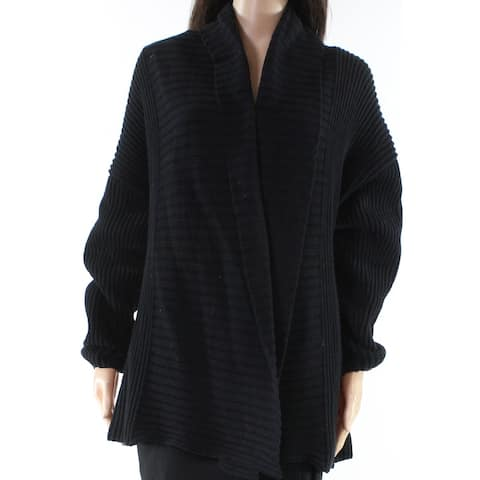 Trouve Black Womens Size Small S Ribbed Trim Cardigan Sweater