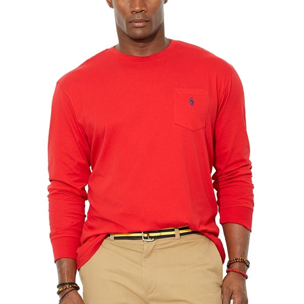 Polo Ralph Lauren Big and Tall Long Sleeve Crewneck T-Shirt Red 2XLT Tall