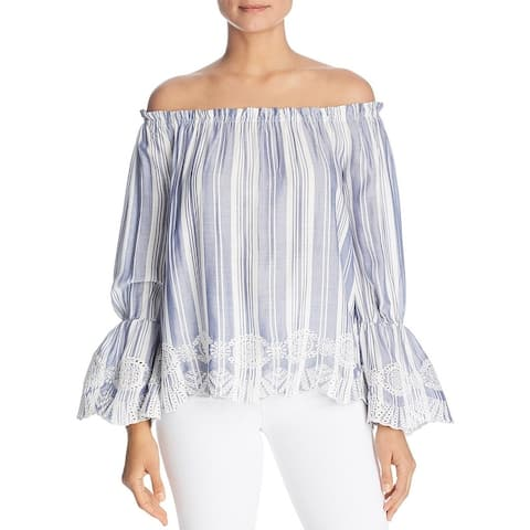 Design History Womens Blouse Embroidered Off-The-Shoulder