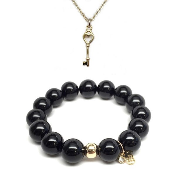 Black Onyx Bracelet & Key To My Heart Gold Charm Necklace Set