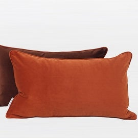 "G Home Collection Luxury Orange And Brown Two Color Flannel Fabric Pillow 12""X20"""