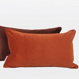 "G Home Collection Luxury Orange And Brown Two Color Flannel Fabric Pillow 12""X20"" (3 options available)"