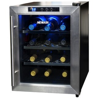 NewAir AW-121E 12 Bottle Countertop Thermoelectric Wine Cooler, Stainless Steel - stainless steel & black
