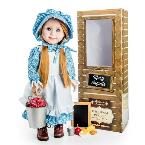 Officially Licensed Little House on the Prairie 18 Inch Mary Ingalls Doll. Complete with Lunch Pail And Food & Chalk Board