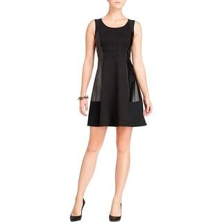 NYDJ Womens Party Dress Ponte Faux Leather Trim