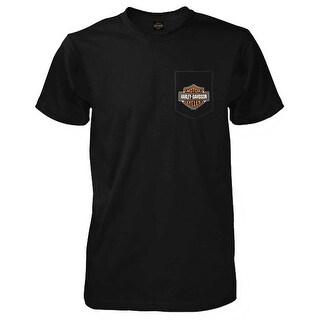 Harley-Davidson Men's Bar & Shield Logo Chest Pocket Short Sleeve T-Shirt, Black