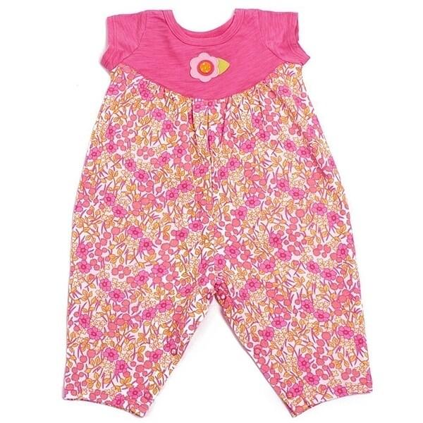 Baby Lulu Girls Pink Floral Flower Felt Short Sleeve Cotton Knit Romper