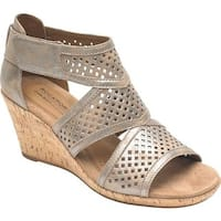 Rockport Women's Cobb Hill Janna Caged Strappy Sandal Metallic Leather