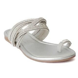 Fashion Womens Shoes Columbia Dushea Rhinestone Toe Ring Flat Sandal