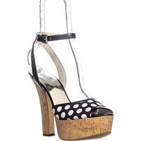 MICHAEL Michael Kors Adriana Ankle Strap Sandals, Black/White - 9.5 us