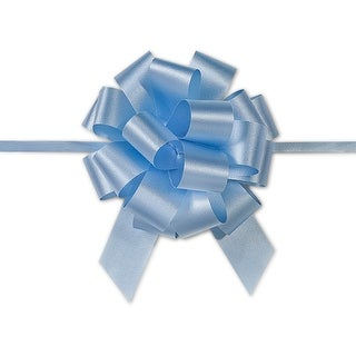 """Pack Of 50, 4"""" Solid Light Blue 100% Polypropylene Flora Satin Gift Pull Bows 18 Loops For Gift Baskets & Gift Packaging"""