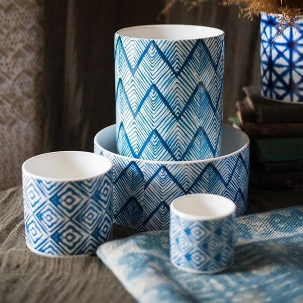 RusticReach Blue Print Ceramic Vase Planter in Various Patterns