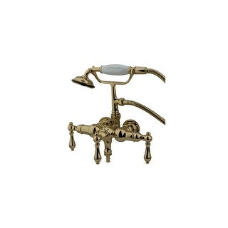 """Elements Of Design DT0192AL  Triple Handle Wall Mounted Clawfoot Tub Filler with 3-3/8"""" Center, Personal Hand Shower and Metal"""