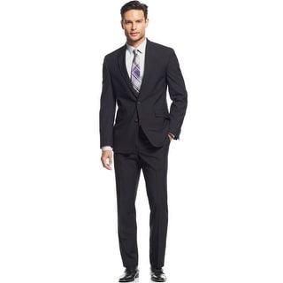 Kenneth Cole Reaction Slim Black Tonal Check Suit 40 Regular 40R Pants 33W