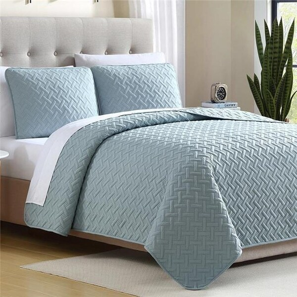 Shop Ardmore Solid Lattice Mini Quilt Set, Aqua - King Size, 3 - Free Shipping Today - Overstock - 24272546