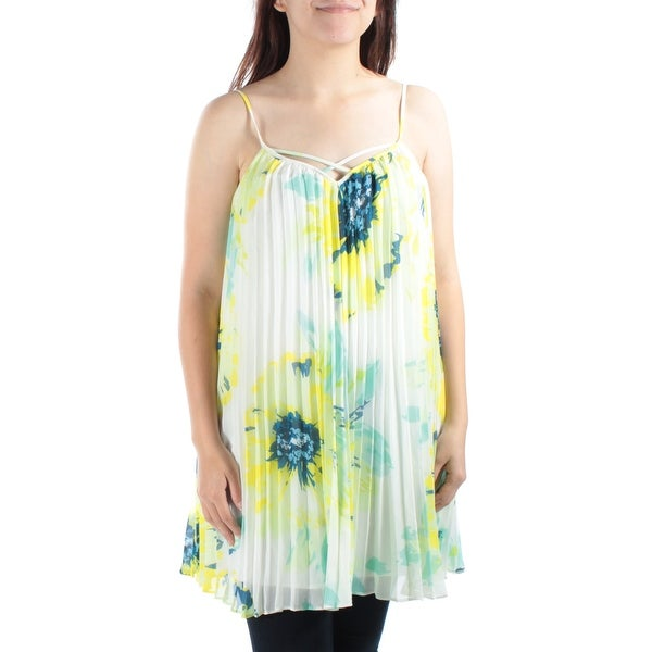 427512f08af Shop GUESS Womens Yellow Floral Spaghetti Strap Keyhole Baby Doll Top Size:  S - On Sale - Free Shipping On Orders Over $45 - Overstock - 21330254