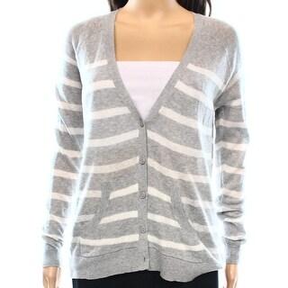 Caslon NEW Gray White Women's Size XS Cardigan Striped Button-Down Sweater