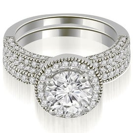 1.60 cttw. 14K White Gold Halo Round Cut Diamond Bridal Set