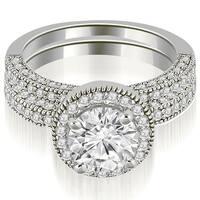 1.60 cttw. 14K White Gold Halo Round Cut Diamond Bridal Set