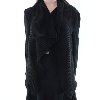 BB Dakota NEW Black Women's Size Large L Suede Draped Open Knit Jacket