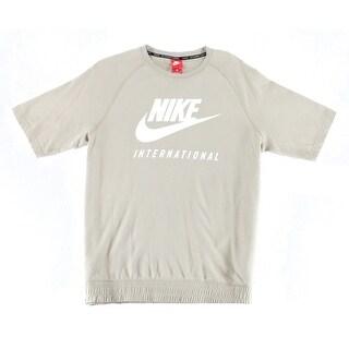 Nike Khaki Beige Mens Size Large L Logo Graphic Print Tee Shirt